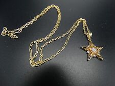 """""""Wish On A Star"""" Dream & Believe 14k Solid Gold 24"""" Pendant 6.2 grams"""