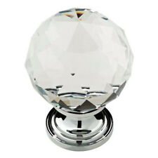 """P30779-CHC  1 3/16"""" Clear Faceted Acrylic Polished Chrome Knob Drawer Pull"""