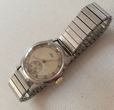 Vintage AVIA SWISS 15 Jewels Dennison Steel Gents Watch With Seconds Sub Dial