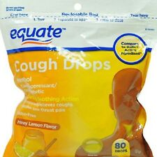 Equate Menthol Honey Lemon Flavor Cough Drops, 80 count