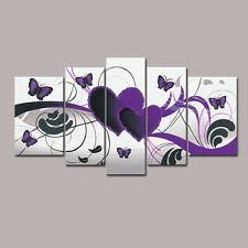 Framed Hand Paint Canvas Oil Painting Home Wall Art Decor Purple Love Butterfly