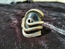 Vintage Bohemian Ring International Silver Fork Black Stone Artsy Artisan