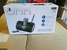 NIB ONN ALARM CLOCK FM RADIO FOR IPHONE 3G & IPOD W/ REMOTE ONIPSK2 BLACK