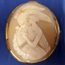 STUNNING ANTIQUE ROLLED GOLD CARVED SHELL CAMEO BROOCH HEBE FEEDING EAGLE (ZEUS)