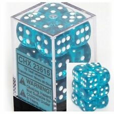 Translucent: 16mm D6 Dice Teal/White (12) CHX 23615