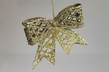 4 Glitter Christmas Tree Decorations Bows Hanging Bow Gold Silver Red Xmas Trim