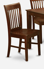 Set of 4 Norfolk dinette kitchen dining chairs w/ plain wood seat in mahogany