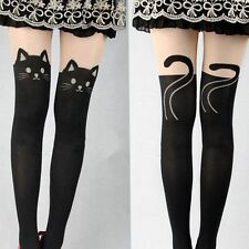 Black Sexy Double Cat Tattoo Tights - UK Seller
