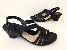 NEW Ladies CLARKS Black Mid Heel Strappy Wedge Sandals/Shoes Size 8 BNWOB