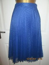 MARKS AND SPENCER PER UNA STUNNING BLUE LACE PLEATED   SKIRT SIZE 16   BNWT