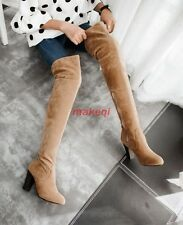 Chic Womens Fashion Faux Suede Over The knee High Block Heel Boots Shoes US Size