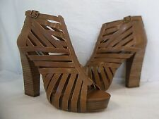 Steve Madden 9.5 M Dadeland Cognac Leather Open Toe Heels New Womens Shoes NWOB