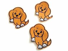 3 x 10cm Iron on, Stick on,Sew On CUTE Brown DOG Fabric Motifs Applique Patches