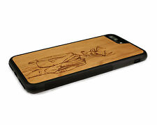 Handcrafted Wood iPhone 7 Plus Case Soft Rubber Sides by Nuwoods, Hipster Deer