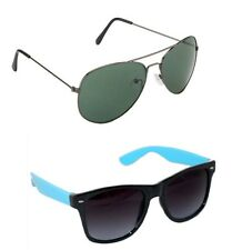 Men's Sunglasses Black Sky Blue wayfarer and Black Aviator Combo Free Shipping