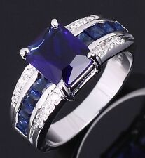 Halo Size 8 Cute Blue Sapphire 18K Gold Filled Women's Wedding Engagement Ring