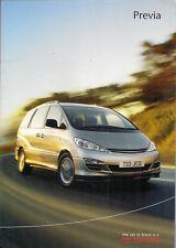 Toyota Previa 2003-04 UK Market Sales Brochure T2 T3 T Spirit 2.0 2.4 2.0 D-4D