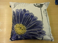 LARGE NAVY BLUE FLOWER SUPREME QUALITY GREY CUSHION COVER £3.99 FREE POSTAGE