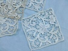 4 vintage antique Italian Venetian style hand made needlepoint lace panels mats