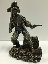 Pirate Captain With Cutlass And Pistol Guarding Treasure Chest Statue Figures