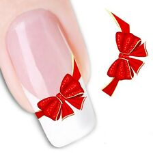 Nail Art Sticker Water Decals Transfer Stickers Decorative Red Ribbons (DX1365)