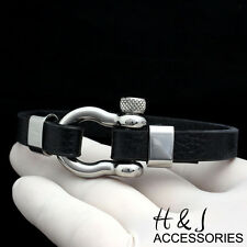 "8""Stainless Steel 10mm Silver/Black Horseshoe Design Leather Bangle/Bracelet*B84"