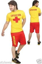 New Mens LIFEGUARD BAY Style Life Saver Float Fancy Dress Outfit Shirt+Shorts