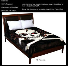"""Super Soft Flaming Skull and Cross Bones Blanket fits Queen or King 79"""" x 91"""""""