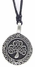 Pewter CELTIC TREE of LIFE Pendant on Black Cord Necklace Nickel Free Knot