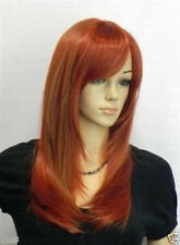 Beautiful lady Long red copper Mixed Cosplay Party Straight Wigs+ wig cap gift