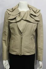 Valentino Women Beige Khaki Cotton Short Fashion Coat Jacket Wide Wavy Neck 10