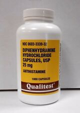 Qualitest Diphenhydramine 25mg Capsules (Sleep Aid & Antihistamine) 1000ct