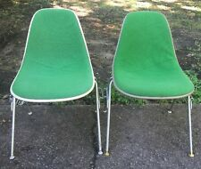 2- green Herman Miller Upholstered Side Shell Chairs w/ Stacking Bases 1970s