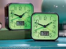 Set of 2 Glow in the Dark Alarm Clocks with Room Temperature