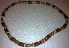 "Beaded 17"" Necklace - Neutral Colored - Tan & Brown - Unknown - Metal & Wood"