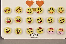 emoji earrings 9 pair set pack post stud earrings metal backs yellow smiley face