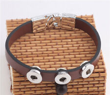 hot DIY 12mm nosa leather bracelets with chunk snap button j4103