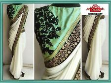 Designer Party Wear White  Color  Georgette Fabric Saree