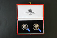GEORGE CROSS/GEORGE MEDAL 75TH.ANNIVERSARY COMMEMORATIVE SILVER-PLATE MEDALLIONS