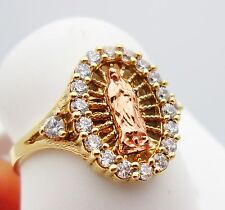 Women's Ladies 10k Two Tone Gold Guadalupe Ring Virgin Mary Ring