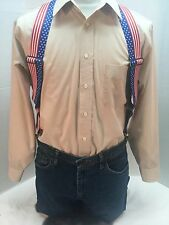 "New, Men's Stars and Stripes ,XL, 2"", Adj.  Side Clip Suspenders, Made n the USA"