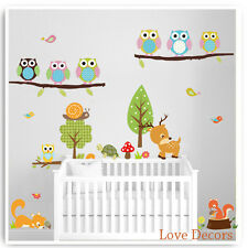 Owl Wall Stickers Animal Jungle Zoo Tree Nursery Kids Baby Room Decals Art Mural