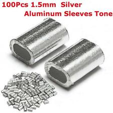 100PCS 1.5mm 1/16'' Aluminum Sleeves Steel Wire Rope Clip Cable Crimps 5x7mm