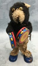 Vintage Bear Wind up toy~Japan~Playing Tambourines ~For Parts~ Working