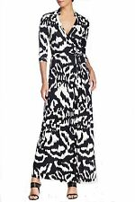 Diane von Furstenberg Abigail Flower Ikat Black Wrap Dress US10 UK14 DVF MAXI
