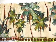 Hawaiian Tropical Cotton Barkcloth Fabric VALANCE /Vintage Pom-Poms ~Palm Trees~