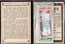 AFGHANISTAN INFLATION 5 Banknotes, Inflation at 71,000 % - in album and a COA