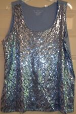 CHICO'S SCOOP Sequin TANK TOP GRAY SILVER SHIMMER Size 3  Cotton   EXCELLENT