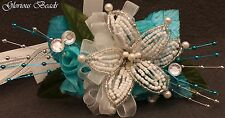 Lily Wrist Corsage with Roses  YOU PICK COLOR Wedding Beads & Silk Beaded PROM