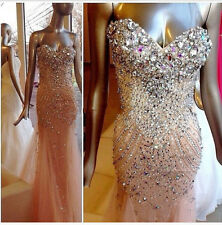 2017 Crystal Rhinestone Mermaid Formal Evening Prom Pageant Dress Party Gowns